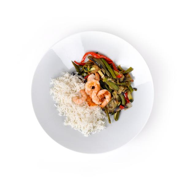 Verduras salteadas con arroz basmati